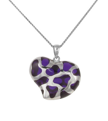 Sterling Silver and Purple Resin Heart Pendant without Chain