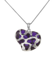 Sterling Silver and Purple Resin Heart Pendant