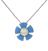 Sterling Silver and Blue Enamel Flower Pendant