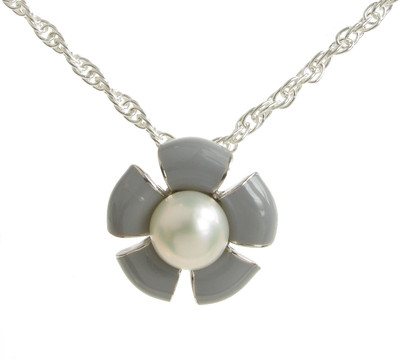 "Sterling Silver and Grey Enamel Flower Pendant with 16 - 18"" Silver Chain"