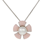 Sterling Silver and Peach Enamel Flower Pendant