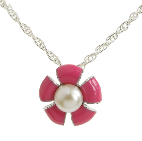 Sterling Silver and Pink Enamel Flower Pendant without Chain
