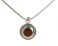 Silver and Formed Red Jasper Round Pendant