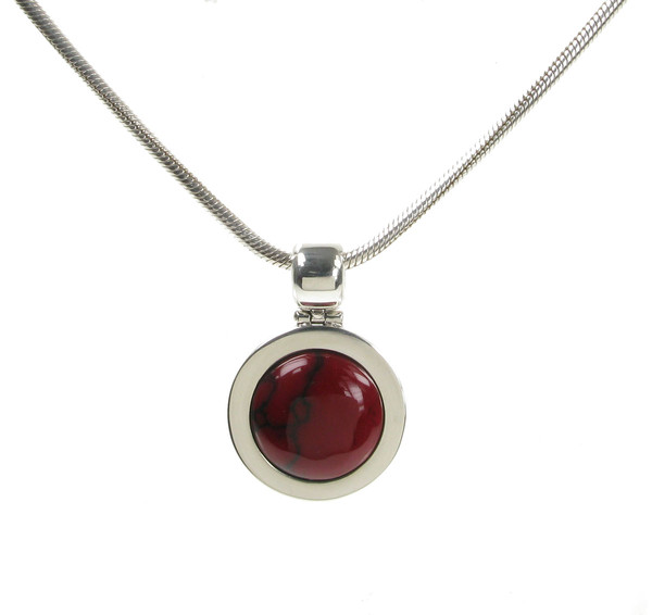 "Silver and Formed Red Jasper Bowler Hat Pendant with 16 - 18"" Silver Chain"