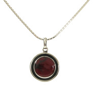 Silver and Red Jasper Button Pendant