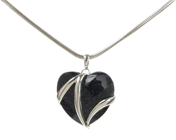 Blue Sandstone and Sterling Silver Flash Heart Pendant without Chain