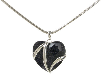 "Blue Sandstone and Sterling Silver Flash Heart Pendant with 16 - 18"" Silver Chain"