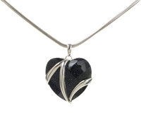 Blue Sandstone and Sterling Silver Flash Heart Pendant