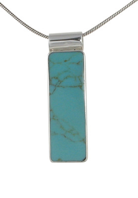 "Sterling Silver and Formed Turquoise Long Oblong Drop Pendant with 16 - 18"" Silver Chain"