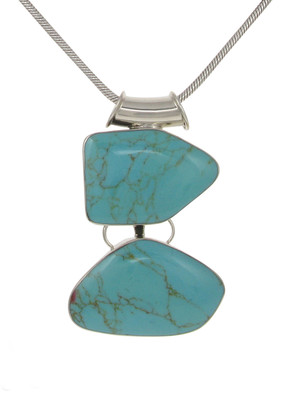 Sterling Silver and Formed Turquoise Abstract Pebbles Pendant without Chain