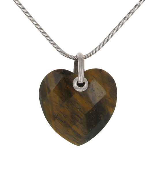 Sterling Silver and Tiger's Eye Heart without Chain