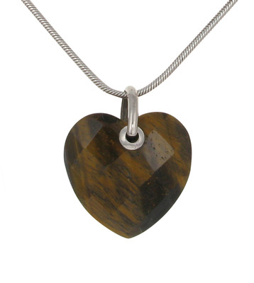"Sterling Silver and Tiger's Eye Heart with 18 - 20"" Silver Chain"