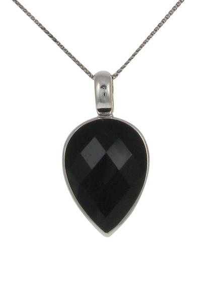 Sterling Silver and Faceted Black Agate Small Teardrop Pendant without Chain