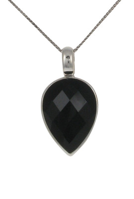 "Sterling Silver and Faceted Black Agate Small Teardrop Pendant with 16 - 18"" Silver Chain"