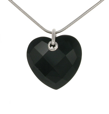 Sterling Silver and Faceted Black Agate Heart Pendant without Chain