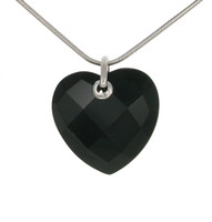 Sterling Silver and Faceted Black Agate Heart Pendant