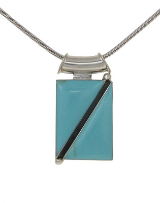 Sterling Silver and Formed Turquoise Bold Geometric Pendant without Chain
