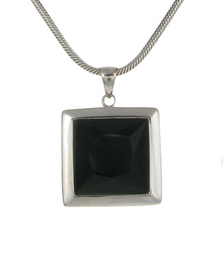 Sterling Silver and Black Agate Square Pendant without Chain