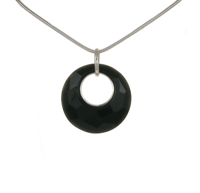Sterling Silver and Faceted Black Agate Disc Pendant without Chain