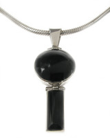 Sterling Silver and Black Agate Exclamation Mark Pendant