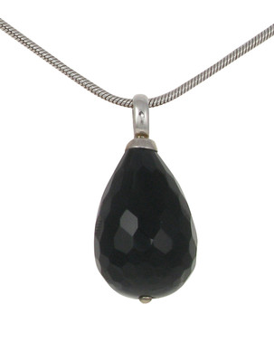 Sterling Silver and Black Agate Chunky Teardrop Pendant without Chain