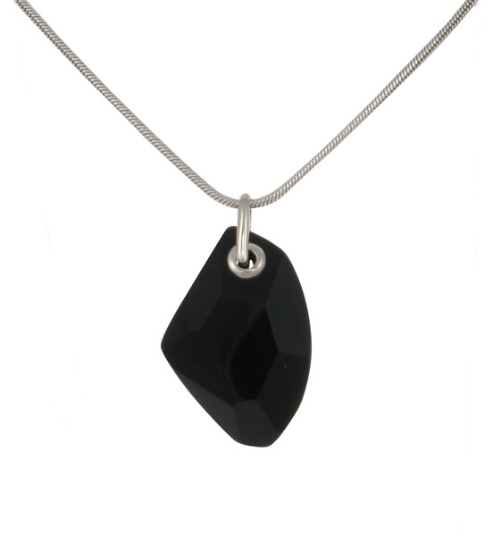 "Sterling Silver and Black Agate Abstract Diamond Pendant with 18 - 20"" Silver Chain"