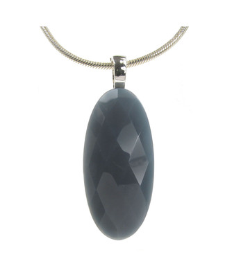 "Sterling Silver and grey agate oval pendant with 18 - 20"" Silver Chain"