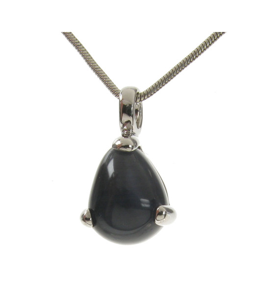 Sterling Silver and Grey Cats Eye Tiny Teardrop Pendant with Silver Chain