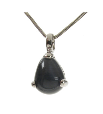 Sterling Silver and Grey Cats Eye Tiny Teardrop Pendant without Chain