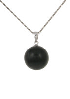 Sterling Silver and Black Cats Eye Ball Pendant