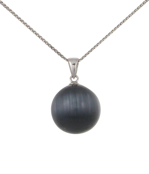 Sterling Silver and Grey Cats Eye Ball Pendant without Chain