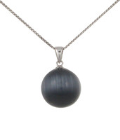 Sterling Silver and Grey Cats Eye Ball Pendant