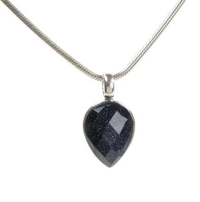 Blue Sandstone Small Faceted Teardrop Pendant without Chain