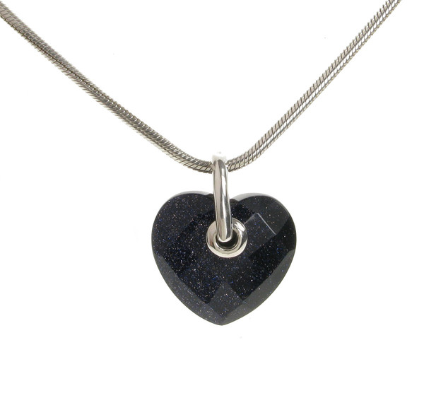 "Simple Faceted Blue Sandstone Heart Pendant with 18 - 20"" Silver Chain"