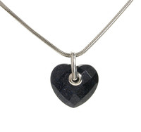 Simple Faceted Blue Sandstone Heart Pendant