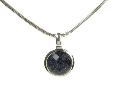"Blue Sandstone Silver Surround Round Pendant with 16 - 18"" Silver Chain"