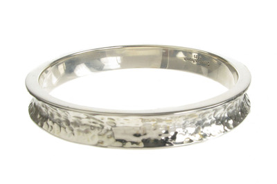 Silver Beaten Slim Wheel Rim Bangle