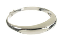 Sterling Silver Asymmetrical O Hinged Clasp Bangle