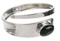 Sterling Silver and Black Agate Hammered Snake Bangle