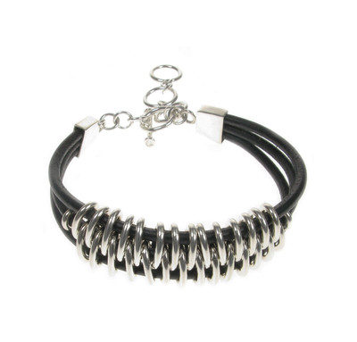 Sterling Silver and Leather Tribal Bracelet