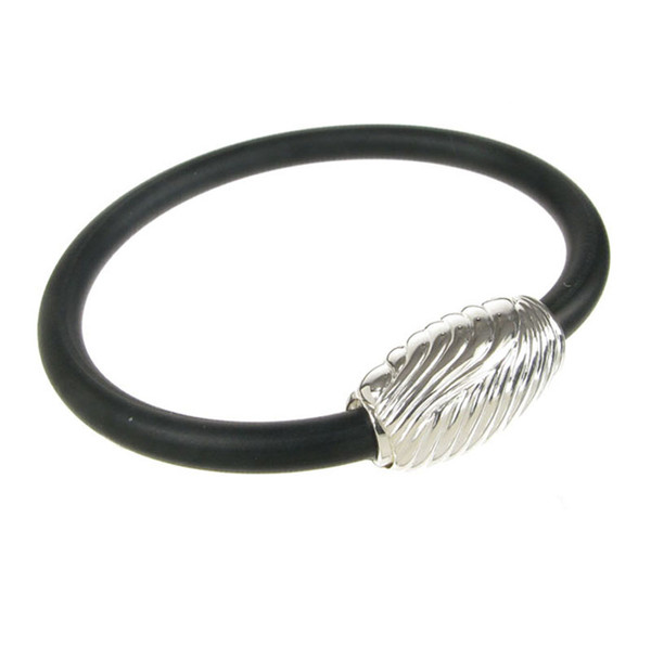 Sterling Silver and Black Rubber Tightly Swirled Bracelet