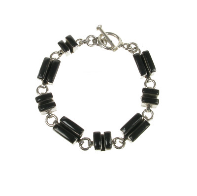 Sterling Silver and Black Agate Deco Bracelet