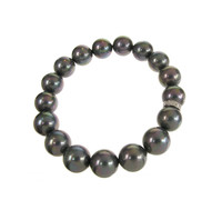 Sterling Silver and Black Shell Pearl Bracelet