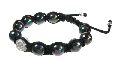 CZ and Black Pearl Threaded Bead Bracelet