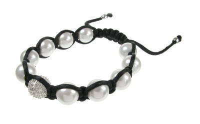 CZ and White Pearl Threaded Bead Bracelet