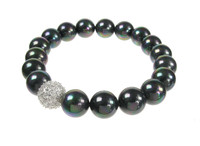 CZ and Black Shell Pearl Bead Bracelet