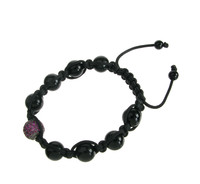 Black agate and CZ Friendship Bracelet