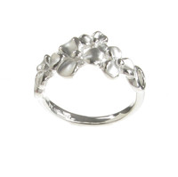 Sterling Silver Brushed 3 Petal Flower Ring