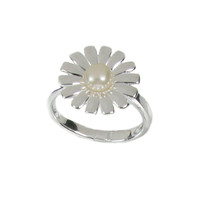 Spiky Petal Sterling Silver and Pearl Daisy Ring