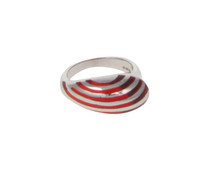 Sterling Silver and Red Resin Stripe Teardrop Ring
